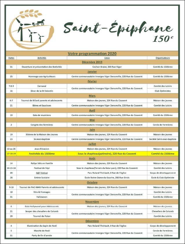 Calendrier des activités - 150e anniversaire - Municipalité Saint-Épiphane (Auteur : Comité du 150e anniversaire)