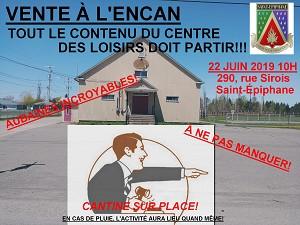 VENTE À L'ENCAN - CENTRE DES LOISIRS SAINT-ÉPIPHANE - 22 juin 10h